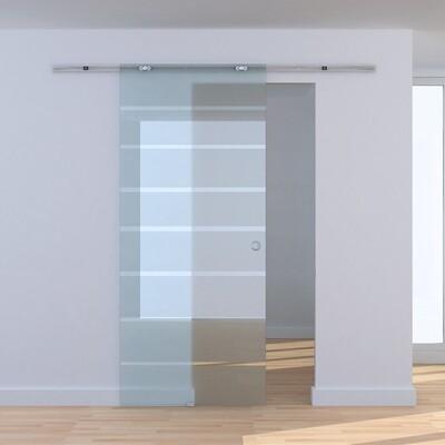 HOMCOM® Teilsatinierte Glasschiebetür   Zimmertür   Aluminium, Sicherheitsglas   205 x 77.5 cm