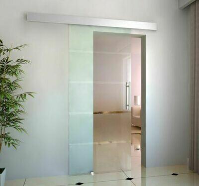 HOMCOM Glasschiebetür satiniert   Glas, Edelstahl, Aluminium   205 x 102,5 cm   Silber und Transparent