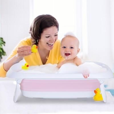 HOMCOM® Badewanne für Babys Ergonomische Babywanne Anti-Rutsch klappbar Kunststoff Rosa 80 x 48 x 21 cm