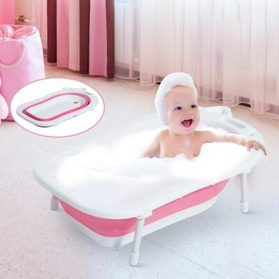 HOMCOM® Babybadewanne mit Stützbeinen zusammenklappbar 89cm Rosa+Weiss