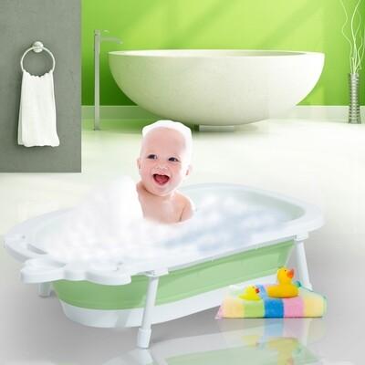 HOMCOM® Babybadewanne mit Stützbeinen zusammenklappbar 89cm Grün+Weiss