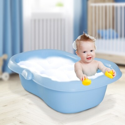 HOMCOM® Babybadewanne mit Stöpsel Pinguin Blau 86x55x27cm