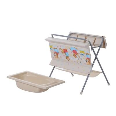 HOMCOM® Baby Wickeltisch mit Badewanne klappbar grau