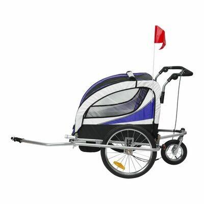HOMCOM Kindertransporter Velo-Anhänger, Buggy | Eisen, Oxford | 106 x 90 x 105 cm | Lila, Weiß, Schwarz