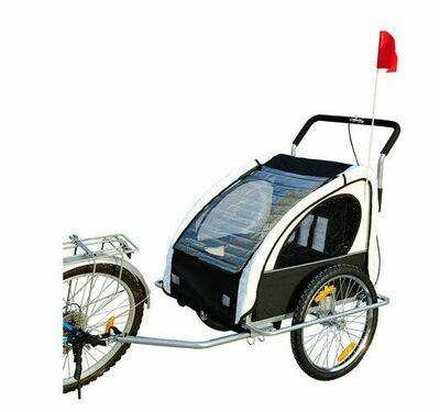 HOMCOM® 2 in1 Kinderfahrradanhänger | Jogger Velo-Anhänger | 70 x 58 x 55 cm | Weiß, Schwarz