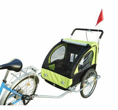 HOMCOM® 2 in1 Jogger Kinderanhänger Velo-Anhänger Fahrradanhänger Grün-schwarz