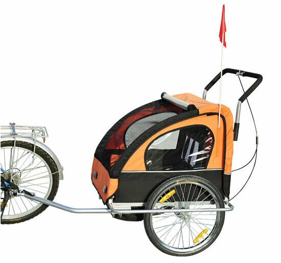 HOMCOM® 2 in1 Jogger Kinderanhänger Veloanhänger Orange-schwarz