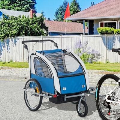 HOMCOM® Kinderanhänger 2 in 1 Fahrradanhänger Jogger Velo-Anhänger 360° Drehbar Blau-Grau