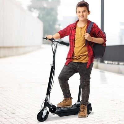 HOMCOM® Elektroroller Kinderroller Roller mit Sitz Tretroller klappbar 120W Schwarz