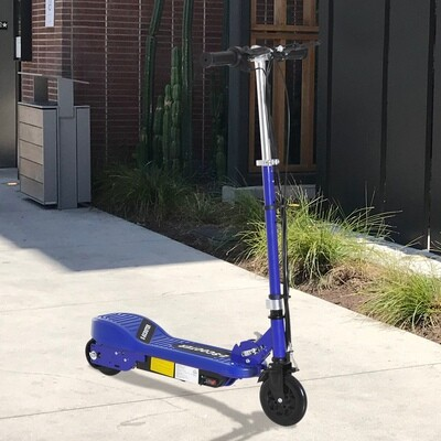 HOMCOM® Elektroroller Kinderroller Cityroller klappbar 12 km/h Kinder Metall Blau