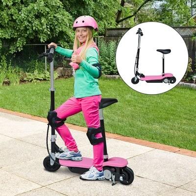 HOMCOM® Elektroroller mit Sitz Tretroller 120W klappbar Rosa