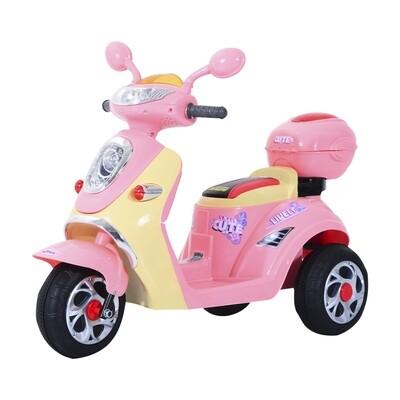 HOMCOM® Elektro Kinderroller Trike | 3 km/h | 108 x 51 x 75cm | Rosa, Weiss