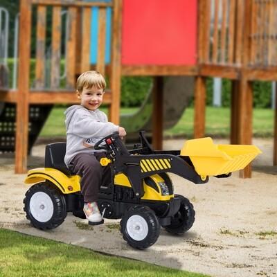 HOMCOM® Tretauto Traktor mit Fontlader ab 3 Jahre Schwarz+Gelb
