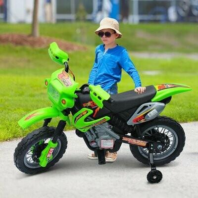 HOMCOM Kindermotorrad | Elektrisch | Geschwindigkeit: 2,5 km/h | 102 x 53 x 66 cm | Grün und Schwarz