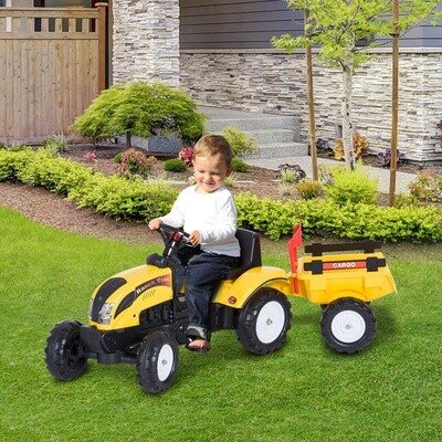 HOMCOM® Tretauto Traktor mit Anhänger ab 3 Jahre Gelb