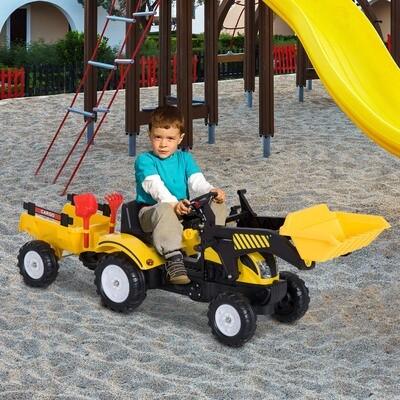 HOMCOM® Tretauto Traktor mit Fontlader und Anhänger ab 3 Jahre Schwarz+Gelb