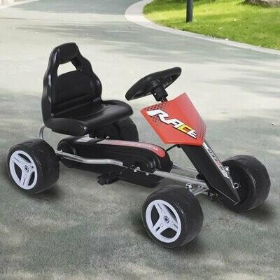 HOMCOM® Kinder Go-Kart Tretauto Kinderfahrzeug mit Pedalen 4 Räder Metall + Kunststoff Rot 3 Jahre
