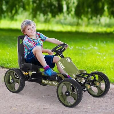 HOMCOM® Tretauto Army Go Kart Tretfahrzeug KinderspieLzeug ab 3 Jahre Grün 105 x 54 x 61cm
