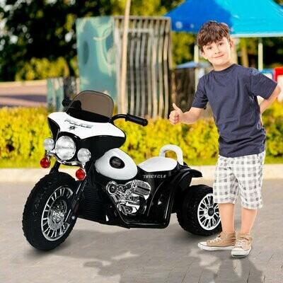 HOMCOM® Elektro Kindermotorrad | Kunststoff, Metall | 80 x 43 x 54,5 cm | Schwarz, Weiss