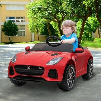 HOMCOM® Elektroauto Kinderfahrzeug mit Fernbedienung Jaguar F-Type 3-8 Jahre PP Rot 110 x 65 x 48 cm