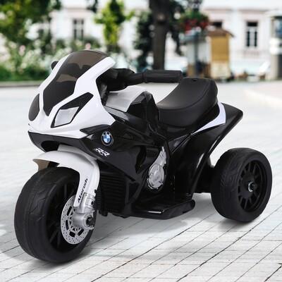 HOMCOM® Elektro Kindermotorrad Lizenziert von BMW 18-36 Monaten Elektro-Dreirad mit Akku Schwarz 66 x 37 x 44 cm