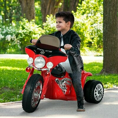 HOMCOM Elektromotorrad für Kinder | Metall, Kunststoff | 80 x 43 x 54,5 cm | Rot, Schwarz