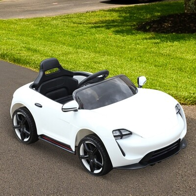 HOMCOM Elektro Kinderauto | Fernbedienung | Stahl, Kunststoff | 115 x 65 x 50 cm | Weiss