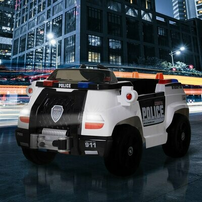 HOMCOM® Kinderfahrzeug Elektroauto Polizeiauto mit Fernbedienung MP3 3–8 Jahre PP 106,5 x 66 x 52,6 cm