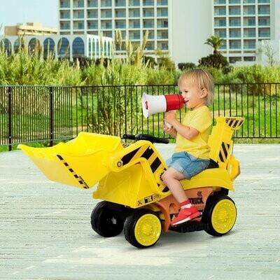 HOMCOM® Kinderfahrzeug Elektroauto Bulldozer Bagger MP3 3–8 Jahre PP Gelb 106,9 x 41,2 x 53 cm