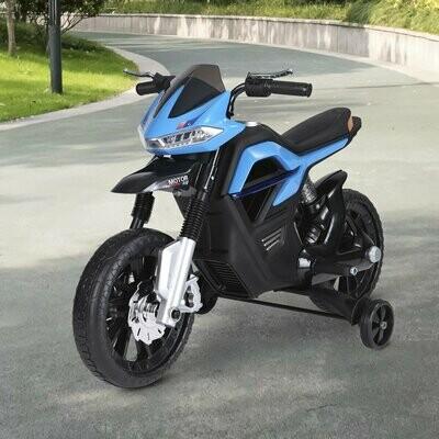 HOMCOM® Elektro-Motorrad Motorrad für Kinder ab 3 Jahren Elektrofahrzeuge 3 km/h PP Blau 105 x 52,3 x 62,3 cm