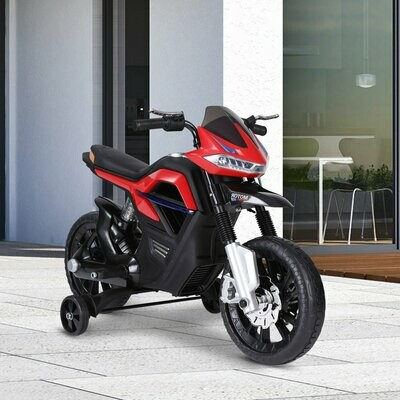 HOMCOM® Elektro-Motorrad Motorrad für Kinder ab 3 Jahren Elektrofahrzeuge 3 km/h PP Rot 105 x 52,3 x 62,3 cm