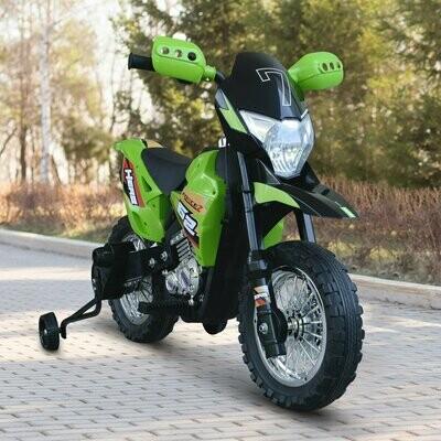 HOMCOM® Elektro-Motorrad Kindermotorrad Elektrofahrzeuge 3 bis 8 Jahren 3-7 km/h PP Grün 107 × 53 × 70 cm
