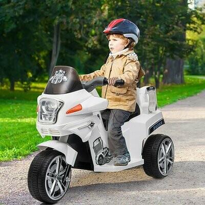 HOMCOM® Polizei Elektrofahrzeug Kindermotorrad Elektro-Motorrad mit Schutzgeländer 3-8 Jahre PP 87 x 41 x 54 cm
