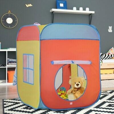 HOMCOM® Kinderspielhaus Spielzelt im Hausmuster 2 Meshtüren und -fenster Selbstaufstellen Polyester 82 x 82 x 106 cm
