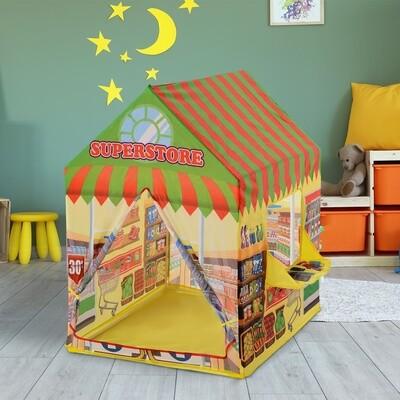 HOMCOM® Kinderspielhaus Spielzelt Supermarkt Tür und Verkaufsfenster 3 Jahre Rollenspiel Polyester 93 x 69 x 103 cm