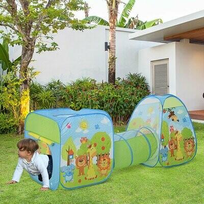 HOMCOM® Pop up Kinderspielzelt 3-teiliges Babyzelt Kinderzelt Spieltunnel Faltbar Polyester 230 x 74 x 93 cm