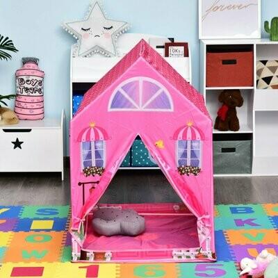 HOMCOM® Kinderspielhaus Prinzessin Spielzelt Hausmuster 2 Türen ab 3 Jahren Rollenspiel Polyester Rosa 93 x 69 x 103 cm