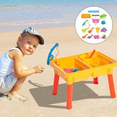 HOMCOM® Spieltisch Sandspielzeug Sandkastentisch mit Zubehör