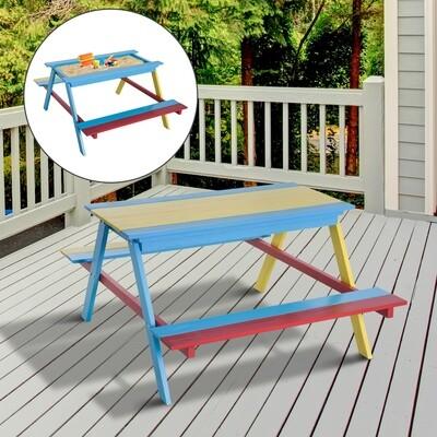 HOMCOM® Spieltisch Sandkasten Kinder mit Sitzbank Holz Bunt