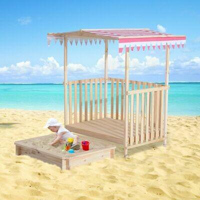 Outsunny® Sandkasten Spielhaus Sandbox Spielveranda mit Dach Holz