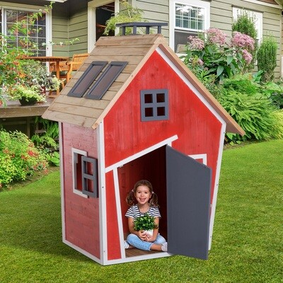 HOMCOM® Spielhaus Kinderhaus Holzhaus Tannenholz Rot