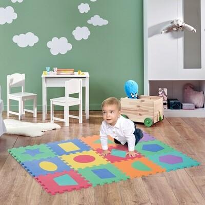 HOMCOM® Puzzlematte Kinderspielteppich 12 tlg. abwaschbar Bunt