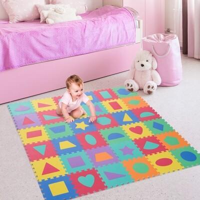 HOMCOM® Puzzlematte Kinderspielteppich 36 tlg. abwaschbar Bunt