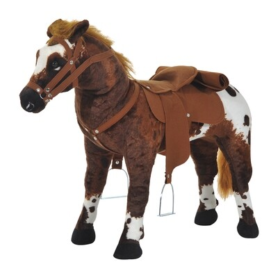 HOMCOM® Schaukelpferd Kinder Reitpferd Plüsch Spielzeug braun