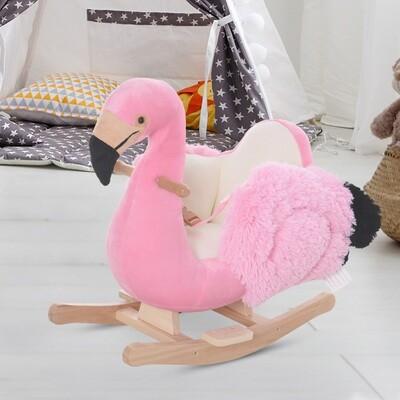 HOMCOM Schaukeltier Flamingo mit Sicherheitsgurt | 60 x 33 x 52 cm | Plüsch
