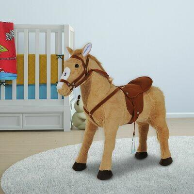 HOMCOM® Reitpferd Stehpferd Kinderpferd Plüschpferd Reiten ohne Schaukelkufen Beige