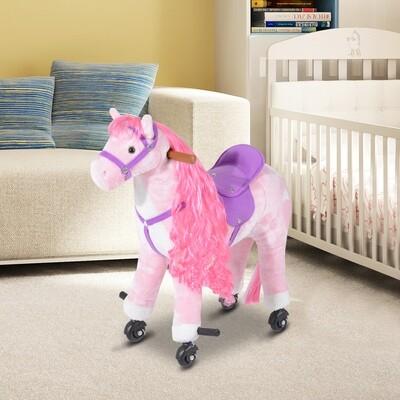 HOMCOM® Reitpferd Stehpferd Plüschpferd mit Rollen Kinder Rosa