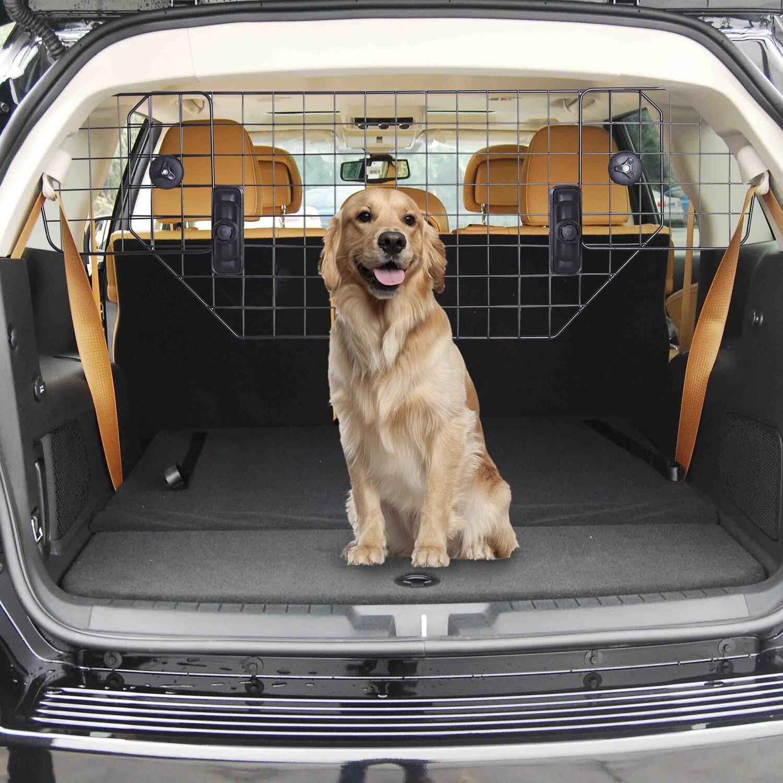 PawHut® Hundeschutzgitter Auto Universal Kofferraumgitter verstellbar Trenngitter Metall schwarz (89-122) x 41 cm
