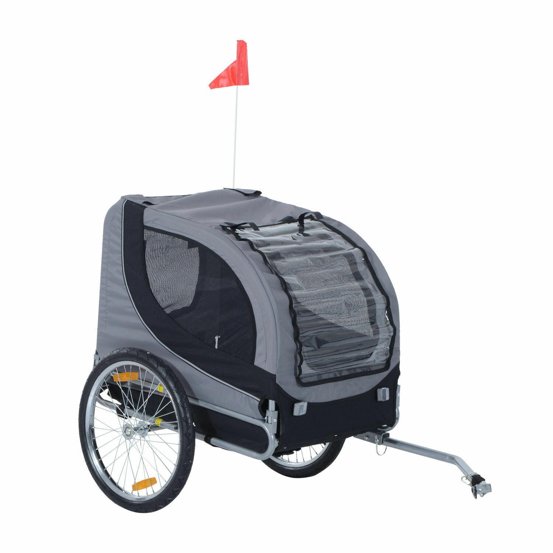 Pawhut Hundetransporter Velo-Anhänger Fahrradanhänger | 600D Oxford, Stahl, PC | 130 x 90 x 110 cm | Grau, Schwarz