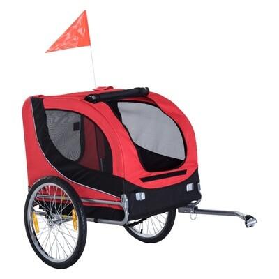 Pawhut Hundetransporter Fahrradanhänger Velo-Anhänger | 600D Oxford, Stahl, PC | 130 x 90 x 110 cm | Rot, Schwarz